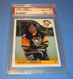 1985 1986 Mario Lemieux Topps Psa 8 Nm Mt Mint Rc Rookie Hockey Penguins Hof 9