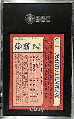 1985-86 OPC O-Pee-Chee #9 Mario Lemieux Rookie Card SGC 8.5 NM-MT+