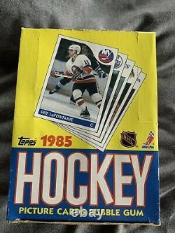 1985/86 TOPPS HOCKEY WAX BOX LEMIEUX RC BBCE Authentic Pittsburgh Penguins PSA