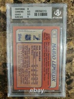 1985 86 Topps Hockey #9 MARIO LEMIEUX Rookie BGS 8.5 Rc NrMt-Mt+ 1985/86