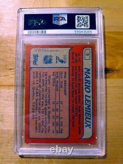 1985 Topps #9 PITTSBURGH PENGUINS MARIO LEMIEUX ROOKIE CARD PSA 8 NM-MT! SUPER
