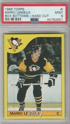 1985 Topps Box Bottoms #I Mario Lemieux Rookie Hockey Card PSA 9 MINT 1/6
