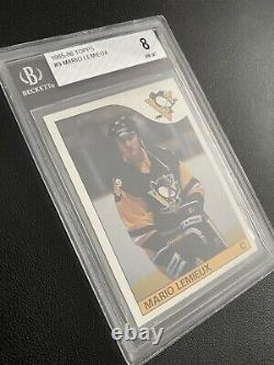 1985 Topps Mario Lemieux #9 Rookie RC BGS Graded 8 See Subs Centered and Sharp