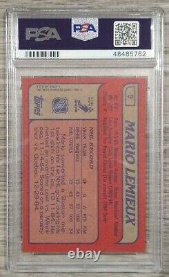 1985 Topps Mario Lemieux Rookie RC #9 PSA 9