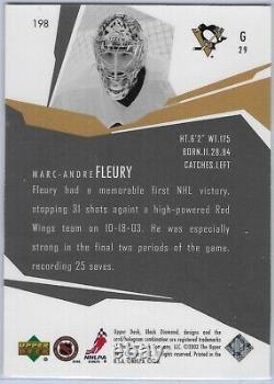 2003-04 Upper Deck Black Diamond Rookie Gems #198 Marc-andre Fleury Rookie Card