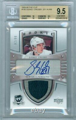 2005-06 THE CUP SIDNEY CROSBY ROOKIE RC 82/99 BGS 9.5, 2 10's GAME USED PATCH