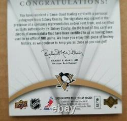2007/08 Upper UD Cup Hockey Emblems of Endorsement Sidney Crosby /15 Auto Patch