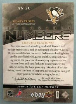 2010-11 UD The Cup Sidney Crosby Honorable Numbers Auto Patch #'ed 1/87