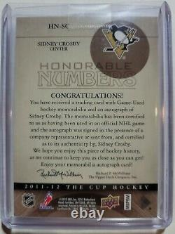 2011-12 THE CUP HONORABLE NUMBERS SIDNEY CROSBY Auto #05/87