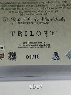 2017-18 Ud Trilogy Tryptichs Jumbo 3 Color Patch Sidney Crosby Penguins /10