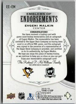 2018-19 The Cup Evgeni Malkin Penguins Emblems of Endorsement Auto Patch SN# /15