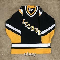 CCM Authentic Pittsburgh Penguins Word Mark NHL Hockey Jersey Vintage Black 44