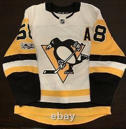 Kris Letang Pittsburgh Penguins MiC Adidas NHL Jersey Size 54