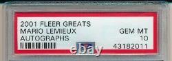 MARIO LEMIEUX 2001 FLEER Greats of the Game AUTOGRAPHS #1 AUTO PSA 10 Pop 1
