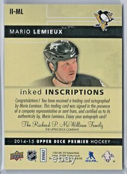 Mario Lemieux 2014-15 Premier Inked Inscriptions Auto #24/25 Pittsburgh Penguins