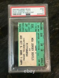 SIDNEY CROSBY NHL DEBUT TICKET STUB 10/5/05 PSA Pittsburgh Penguins First Game