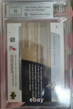 Sidney Crosby Sp Authentic Future Watch Auto #/100 BGS 9
