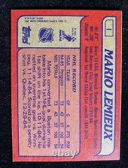 VERY RARE 1985 Mario Lemieux ROOKIE Topps Box Bottom #1 EX-NMT