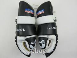 VTG Black Leather JOFA 8000L Pittsburgh Penguins NHL Pro Stock Hockey Gloves 14