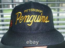 Vintage 90s Sports Specialties NHL Pittsburgh Penguins Script Snapback Hat RARE