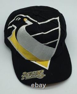 Vintage Big Logo Pittsburgh Penguins Snapback Hat Cap NHL The Game Black Dome